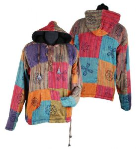 Hippy Jacket~Ethnic Print Patchwork Fleece Lined Hooded Jacket Unisex Hippy Hoodie Size Large~Fair Trade by Folio gothic Hippy FX466